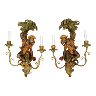 2-Arm Wall Sconces With Monkey Figures - A Pair