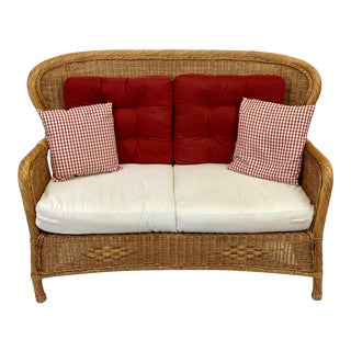 Mid 20th Century Rustic Wicker Settee & Cushions For Sale