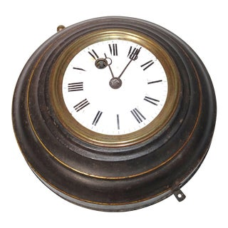Round Black Tole Clock With White Face 19th Century