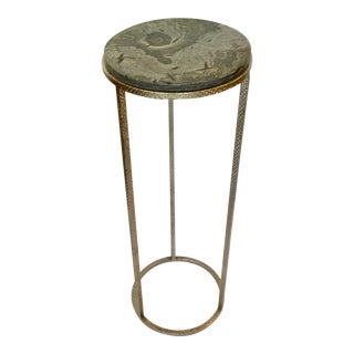 Studio a Modern Large Iron and Marble Wise Egg Pedestal For Sale
