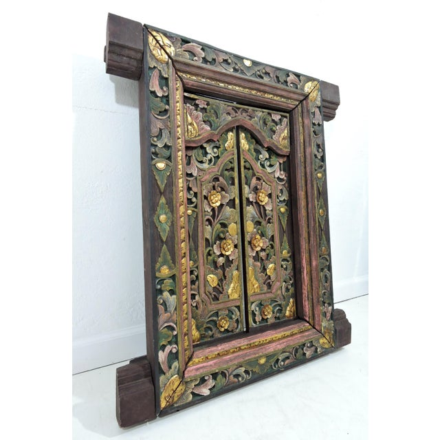 Vintage Hand Carved Floral Indian Window Frame or Wall Panel For Sale In Tampa - Image 6 of 10
