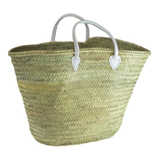 French / Moroccan Market Basket With White Leather Straps For Sale