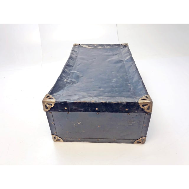 Black Vintage Distressed Black Metal Storage Trunk For Sale - Image 8 of 13