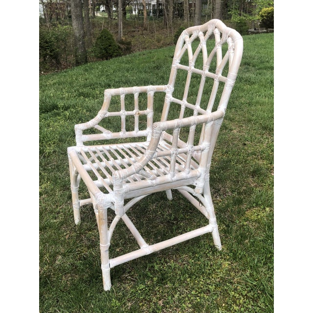 Boho Chic Vintage Chippendale Style Bamboo Dining Chairs - Set of 6 For Sale - Image 3 of 9