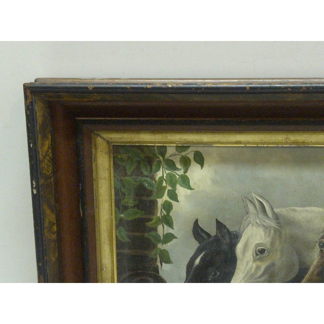 """Original """"Horses Drinking"""" Framed Painting on Canvas Circa 1900 For Sale - Image 4 of 5"""