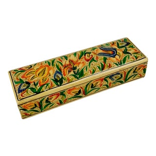 Vintage Kashmir Lacquer Pencil Case Paper Mache Box For Sale