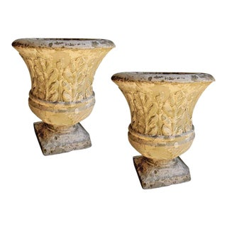 Pair of Cast Stone Garden Urns With Lovely Worn Painted Finish For Sale