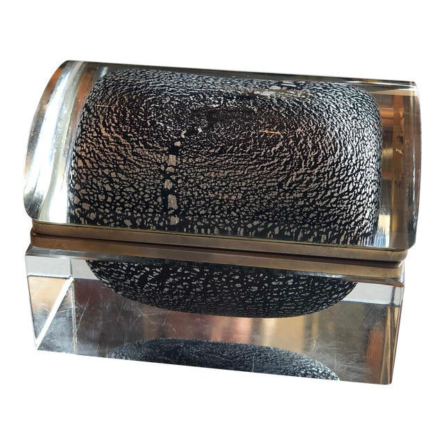 Italian Mid Century Silver Leaf and Black Murano Sommerso Box For Sale