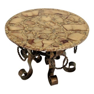 Arturo Pani Gold Fleck Onyx & Abalone Inlay Side Table