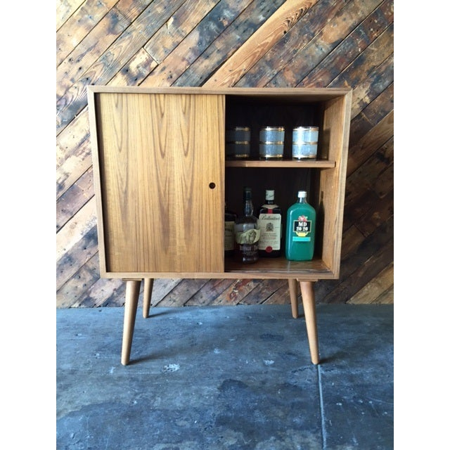 Mid-Century-Style Teak Record Cabinet For Sale - Image 4 of 8