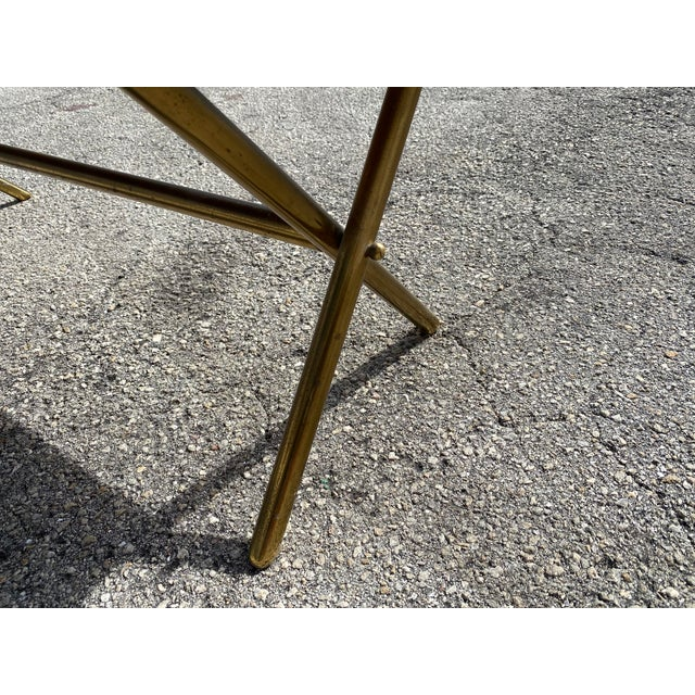 Brass X Frame Cofee Table For Sale In West Palm - Image 6 of 9