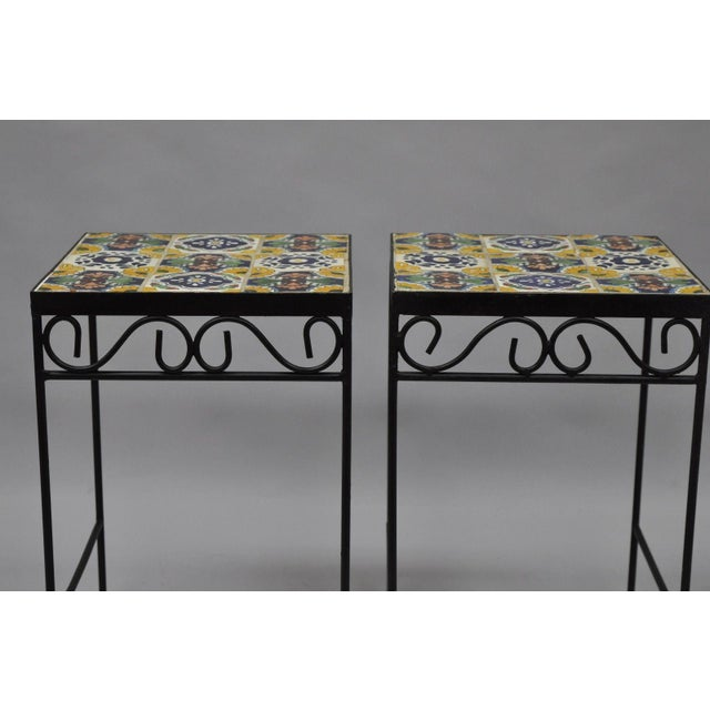 California Style 9 Tile Yellow Blue Green Wrought Iron Side Tables - a Pair - Image 7 of 11