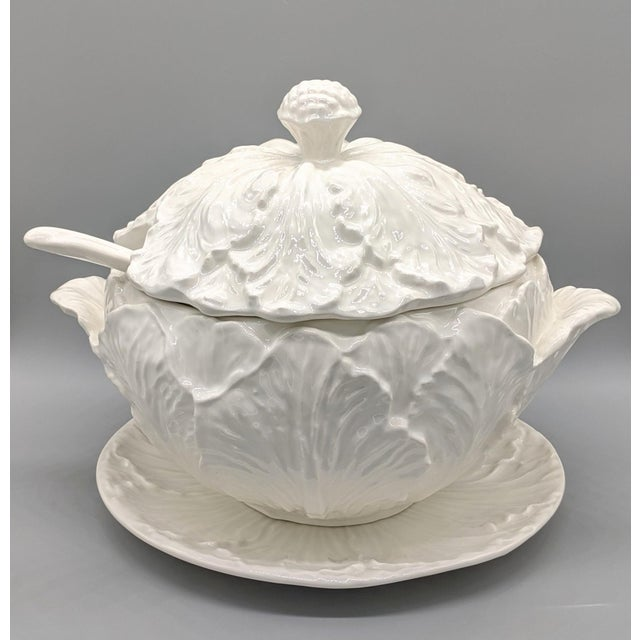 Large Mid-Century White Cabbage Soup Tureen With Ladle and Underplate - 4 Pieces For Sale - Image 10 of 10