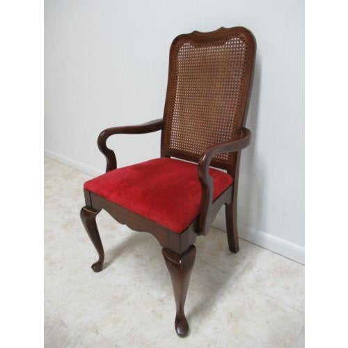 Queen Anne Vintage Thomasville Solid Cherry Queen Anne Caned Chair For Sale - Image 3 of 11
