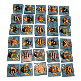 Mexican Hand-Painted Terra Cotta Fish Tiles, Set of 30 For Sale