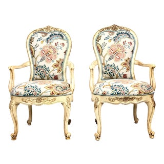 French Country Century Furniture Coteau Arm Chairs - a Pair