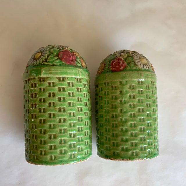 1970s Large Vintage Floral Ceramic Salt & Pepper Shakers, a Pair For Sale - Image 5 of 10