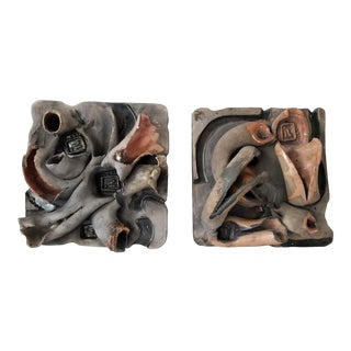 Brutalist Abstract Wall Art Pottery - Set of 2 For Sale