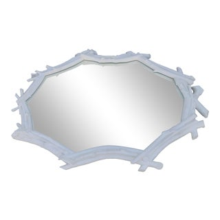 Sirmos White Faux Bamboo Mirror For Sale