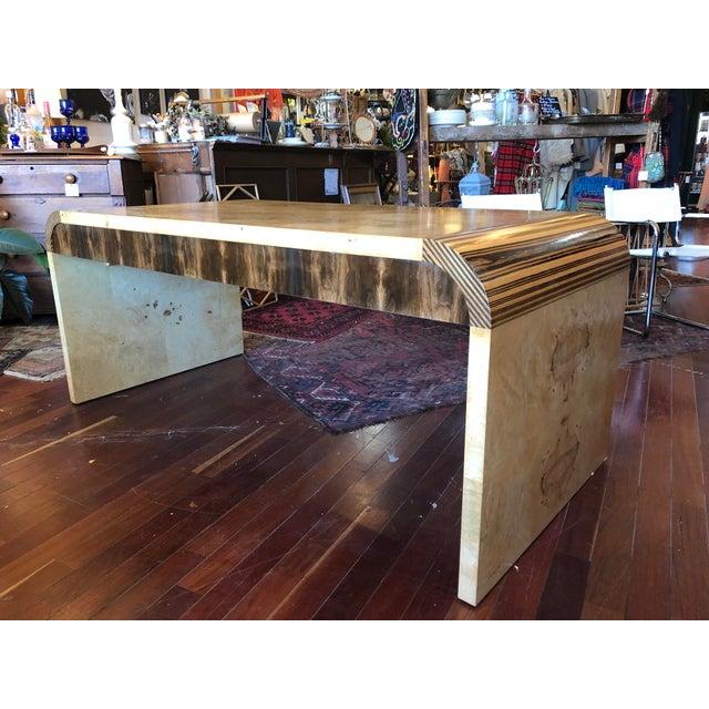Vintage 1970's Henredon Olive Burl Waterfall Desk/Table For Sale - Image 13 of 13