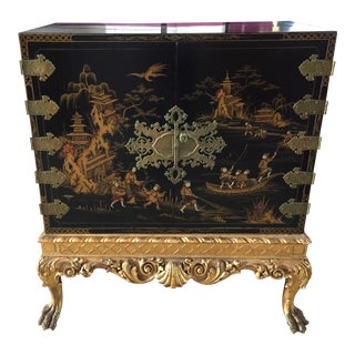 Antique Carved Chinoiserie Chest on Stand