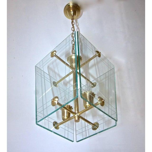 Brass 1950s Italian Fontana Arte Style Hall Entry Glass Pendant For Sale - Image 8 of 13