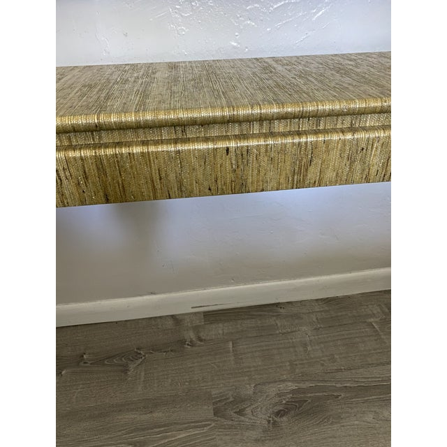 Beige 1970's Karl Springer Style Grass-Wrapped Lacquered Console Table For Sale - Image 8 of 10