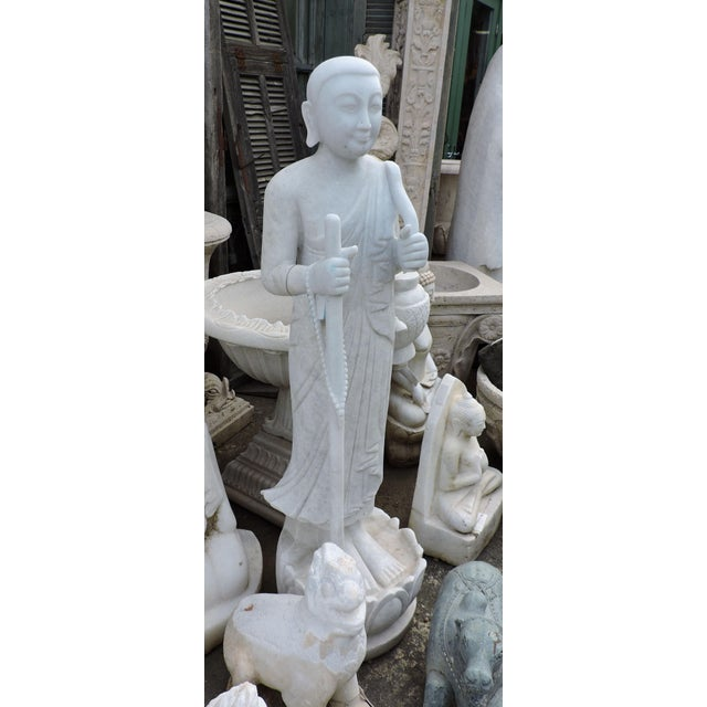 Asian Solid White Alabaster Burmese Traveling Monk For Sale - Image 3 of 8