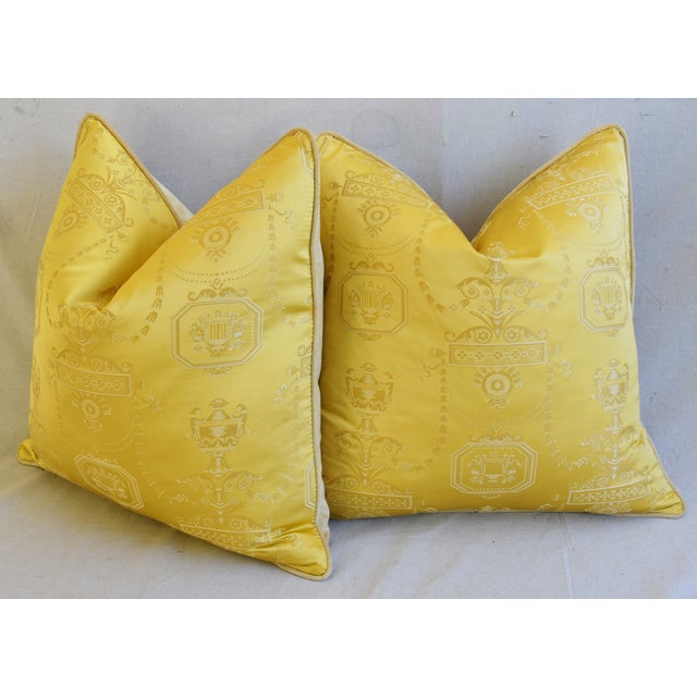 """Gold Designer Italian Golden Silk Lampas Feather/Down Pillows 24"""" Square - Pair For Sale - Image 8 of 12"""