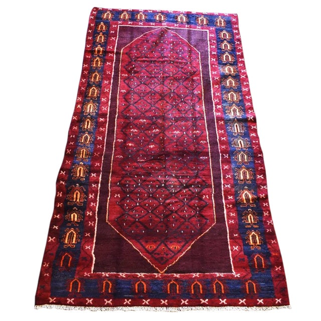 "Hand-Tied Red Persian Kolia Rug 4'11 X 8'10"" For Sale"