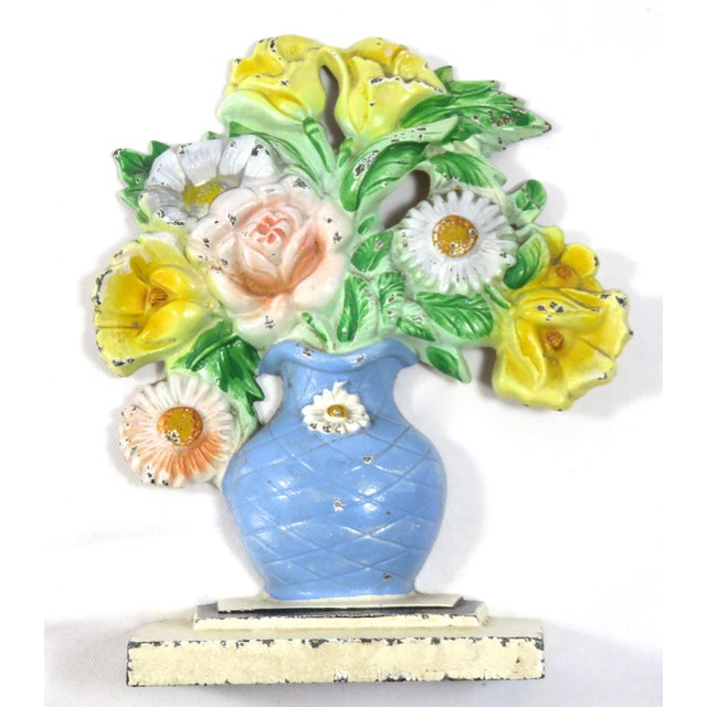 Traditional Vintage 1920s Hubley Cast Iron Flower Doorstop For Sale - Image 3 of 13