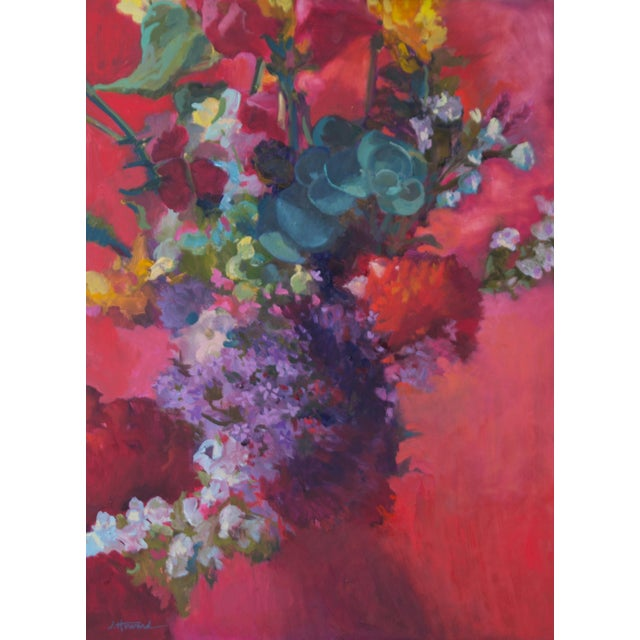 Red Pink Bouquet Eucalyptus Painting For Sale - Image 8 of 8