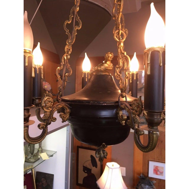1810 Empire Regency Neoclassical 6 Light Converted Chandelier For Sale - Image 10 of 13
