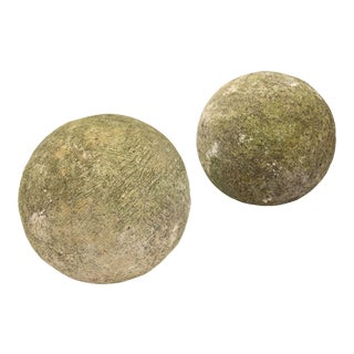 20th Century Stone Garden Spheres - A Pair For Sale