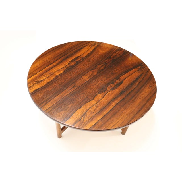 """A beautiful rosewood coffee table by Arne Halvorsen for Rasmus Solberg of Norway. Pencil markings on the label: """"4 80""""...."""