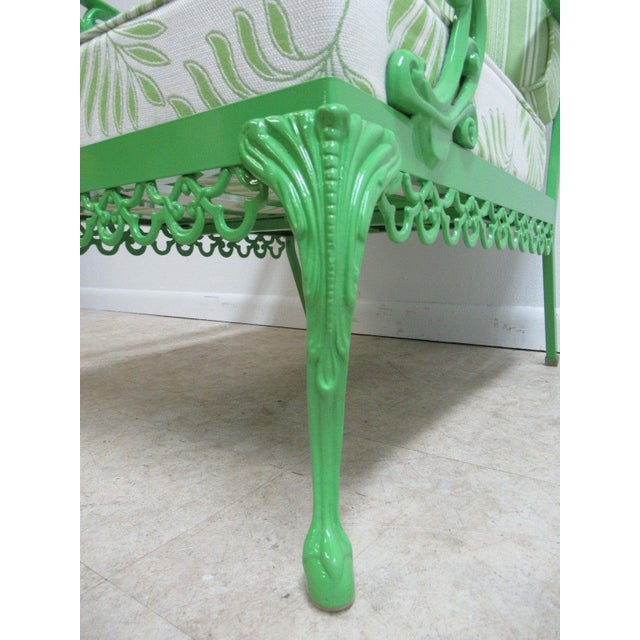 Vintage Green Aluminum Chippendale Ball & Claw Patio Chair For Sale - Image 10 of 11
