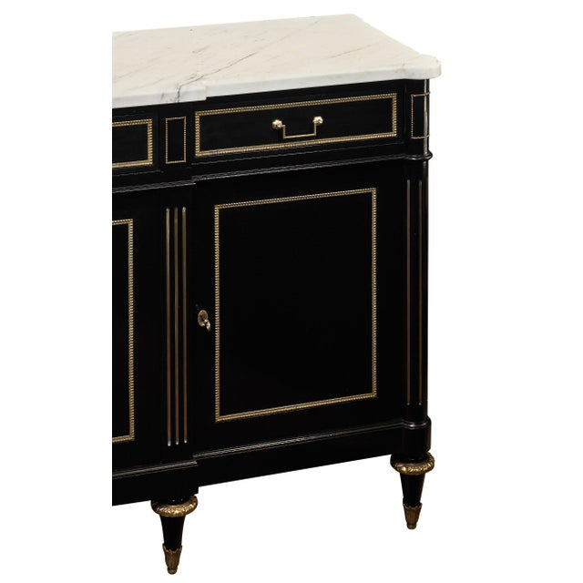 Louis XVI Ebonized Mahogany Buffet With Carrara Marble Top For Sale In Austin - Image 6 of 11