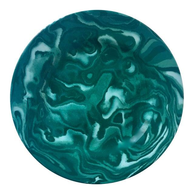 "Vintage Italian 12""Malachite Faience Platter-Deruta for Henri Bendel For Sale"