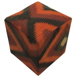 Boho Chic Elder Black/Rust Handmade Kilim Upholstered Ottoman For Sale