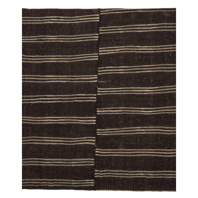 1960s Vintage Dark Brown Striped Kilim Rug- 9′ × 9′3″ For Sale