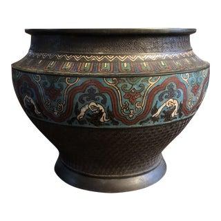 Antique Asian Large Bronze Cloisonne & Champleve Jardiniere With Taotie Design For Sale