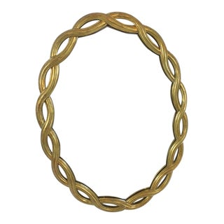 Vintage Oval Mirror With Braided Gilt Frame For Sale