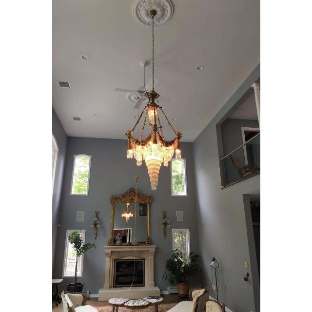 French Bronze Louis XVI Style Crystal Ribbon and Tassel Drapery Chandelier For Sale - Image 3 of 10