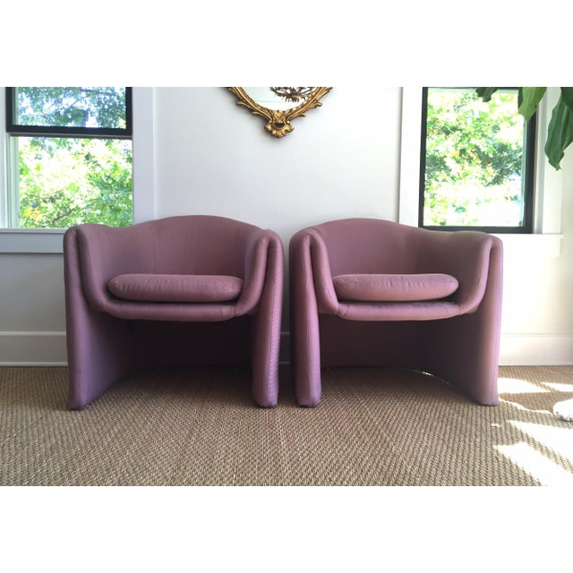 Carter Sculptural Mauve Lounge Chairs - A Pair - Image 2 of 7