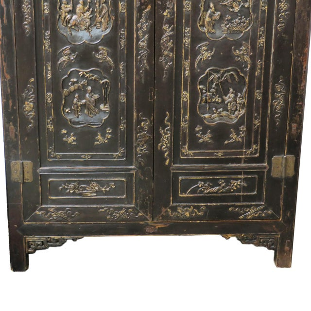 Antique Chinese Black Wedding Wardrobe Cabinet With Gold Carvings For Sale - Image 4 of 12