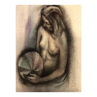 1962 Watercolor and Ink Female Nude Signed For Sale