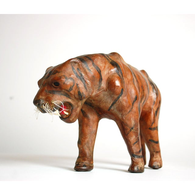 Mid Century Leather Tiger Sculpture - Image 6 of 6