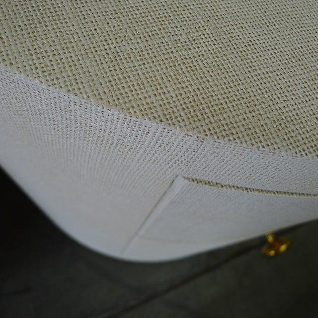 Not Yet Made - Made To Order Paul Marra Linen-Wrapped Round Nightstand For Sale - Image 5 of 9