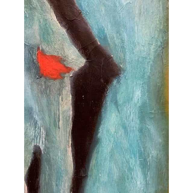 Vibrant abstract figural oil on board by Sachiko Asano set in the original frame. The piece is from the 1980s.