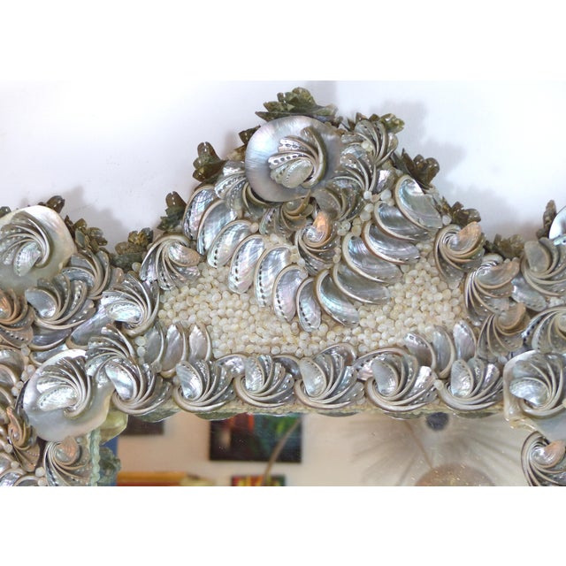 Palm Beach Chic Mother-Of-Pearl Shell Encrusted Mirror For Sale In Miami - Image 6 of 13